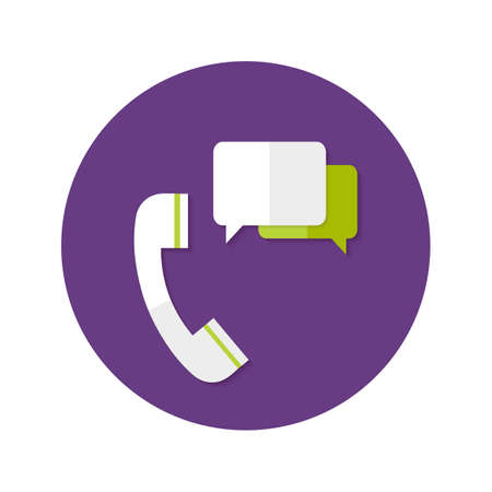 mobile operators: Illustration of Help Callback Flat Circle Icon Illustration