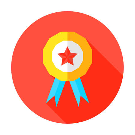 best quality: Illustration of Award with star. Grade A or Above Flat Circle Icon Illustration