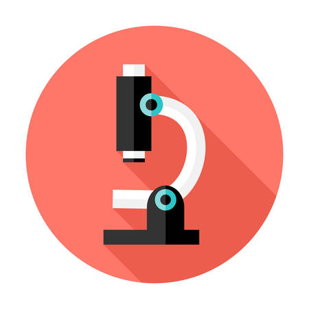 unicellular: Illustration of Microscope Flat Circle Icon over Red with shadow Illustration