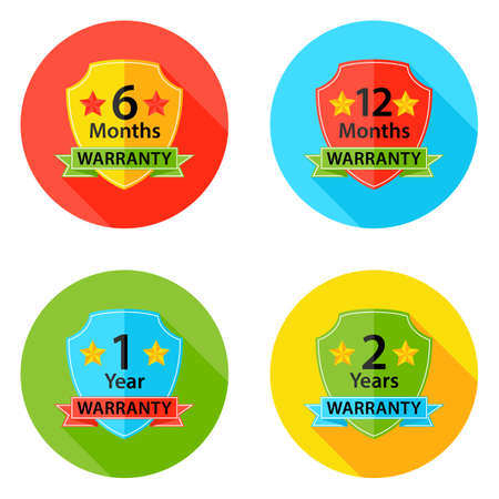 6 12 months: Illustration of Warranty Flat Circle Icons Set 1 with Shadow. 6 months, 12 months, 1 year, 2 years.