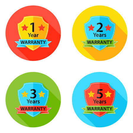 1 2 years: Illustration of Warranty Flat Circle Icons Set 2 with Shadow. 1 year, 2 years, 3 years, 5 years.