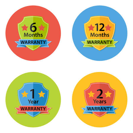 months of the year: Illustration of Warranty Flat Circle Icons Set 3 with Shadow. 6 months, 12 months, 1 year, 2 years. Illustration