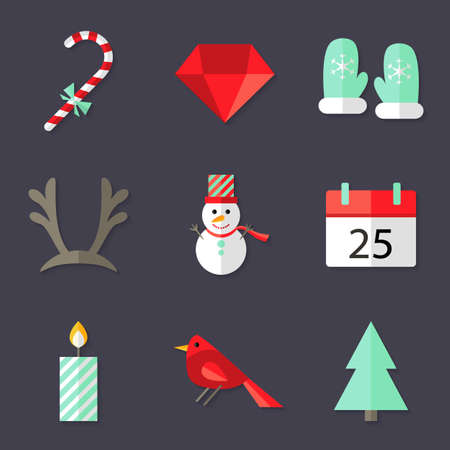 diamond candle: Illustration of 9 Christmas Icons Set 3