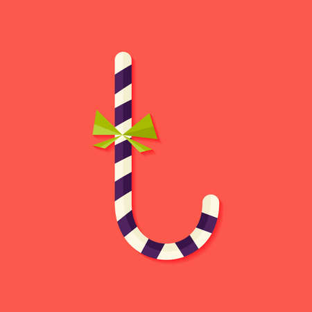 candy stick: Illustration of Candy Stick Christmas Flat Icon