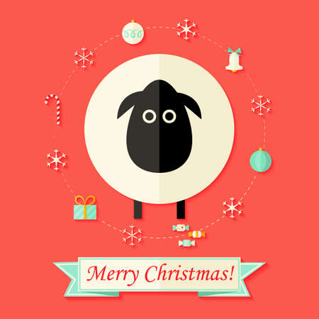 cartoon ball: Illustration of Christmas Card with Sheep over Red