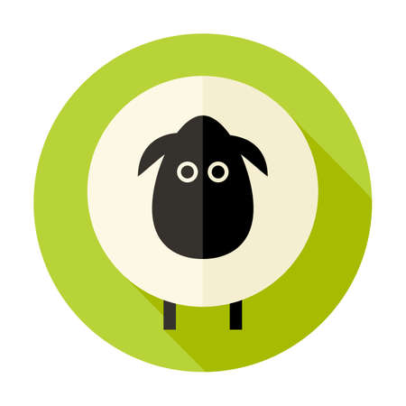 Illustration of Sheep Flat Circle Icon over Green Vector