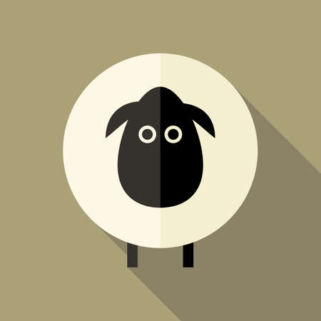 mutton: Illustration of Sheep Flat Icon over Brown Illustration