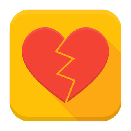 lonely heart: Vector illustration of crashed heart. Flat app square icon with long shadow.