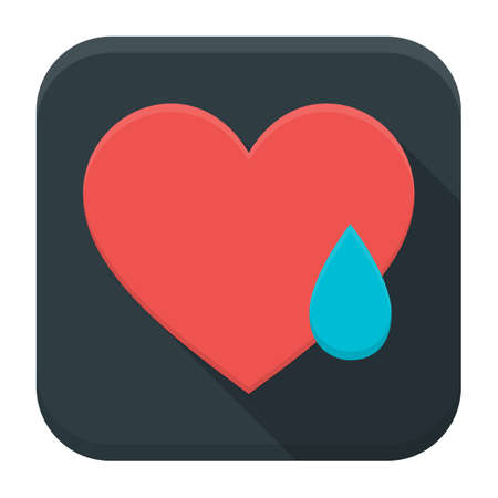 sobbing: Vector illustration of crying heart. Flat app square icon with long shadow.