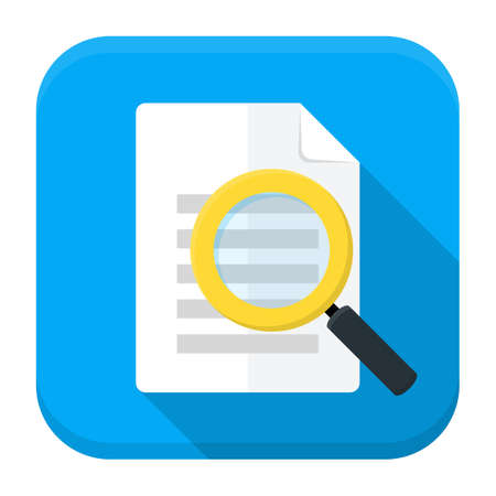 magnifying glass icon: Vector illustration of document search. Flat app square icon with long shadow.