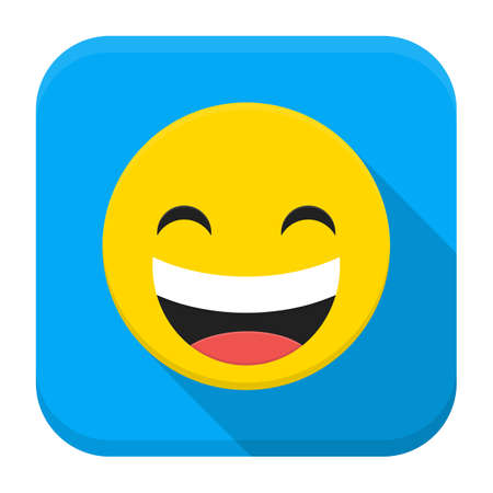 smiley face cartoon: Vector illustration of laughing smile. Flat app square icon with long shadow. Illustration