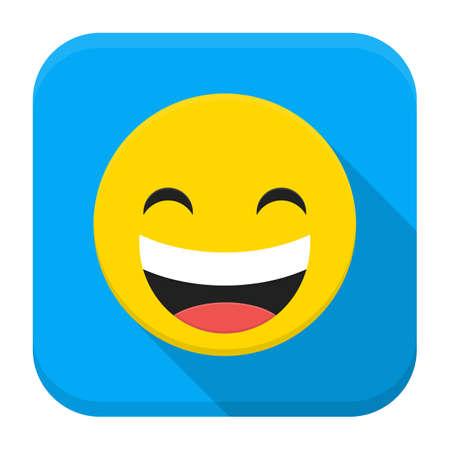 lachendes gesicht: Vektor-Illustration von lachen L�cheln. Wohnung App quadratisches Symbol mit langen Schatten.