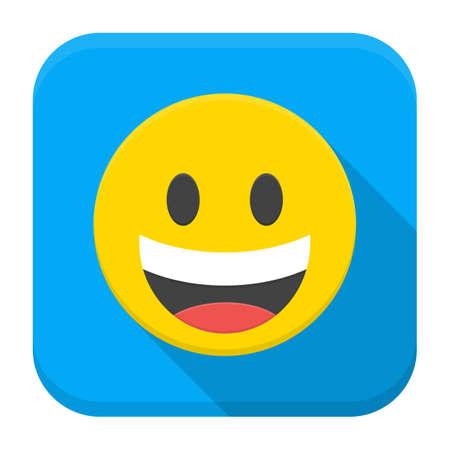 sonrisa: Ilustraci�n vectorial de color amarillo sonrisa riendo. Icono plana cuadrada aplicaci�n con larga sombra.