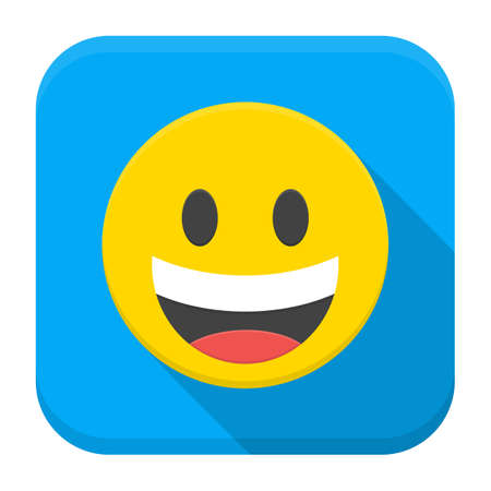 Vector illustration of yellow laughing smile. Flat app square icon with long shadow. Stock Illustratie