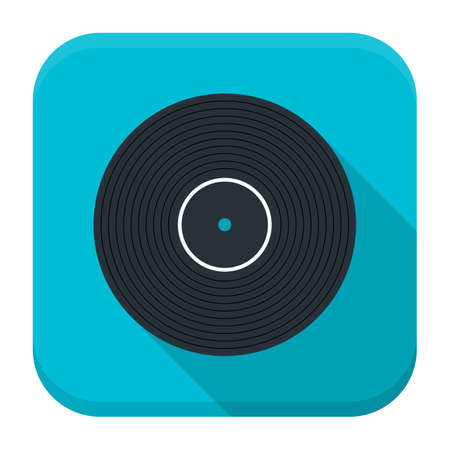 vinyl disk player: Vector illustration of vinyl disc. Flat app square icon with long shadow.