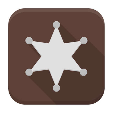 the marshal: Vector illustration of metal sheriff star. Flat app square icon with long shadow.