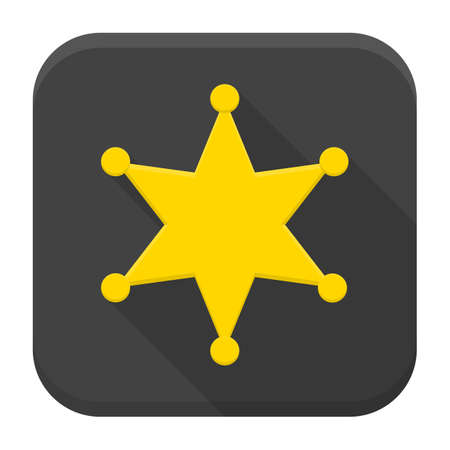 security officer: Vector illustration of western sheriff star. Flat app square icon with long shadow.