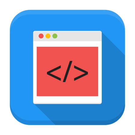 java script: Vector illustration of coding browser. Flat app square icon with long shadow.