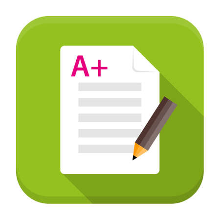 exam: Vector illustration of exam test. Flat app square icon with long shadow.