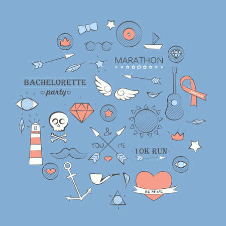 Vector illustration of doodle hipster set over blue. Hand drawn background.