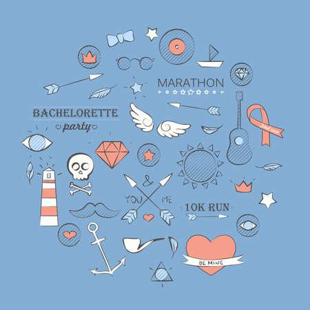 Vector illustration of doodle hipster set over blue. Hand drawn background. Vector