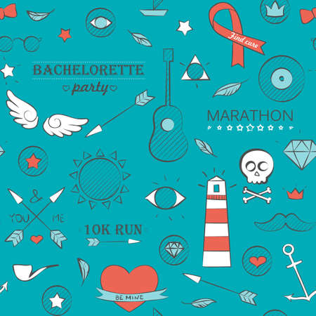 Vector illustration of doodle hipster seamless pattern. Hand drawn background over turquoise.