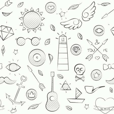 Vector illustratie van de hand getrokken doodle hipster naadloos patroon. Hand getrokken achtergrond over wit. Stock Illustratie