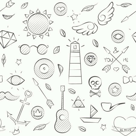 heart and wings: Vector illustration of hand drawn doodle hipster seamless pattern. Hand drawn background over white.