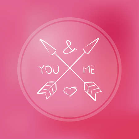 Quote, inspirational poster, typographical design, you and me love, blurred pink background. Vector illustration