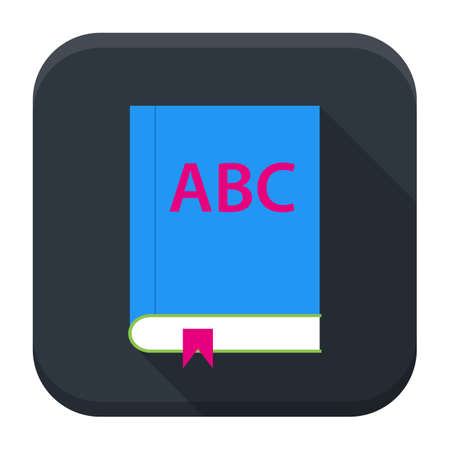 english book: Flat style vector squared app icon. ABC English book app icon with long shadow