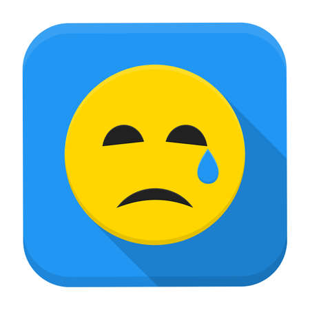Flat style vector squared app icon. Crying yellow smile app icon with long shadow Vector