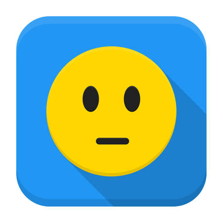 Flat style vector squared app icon. Pensive yellow smile app icon with long shadow