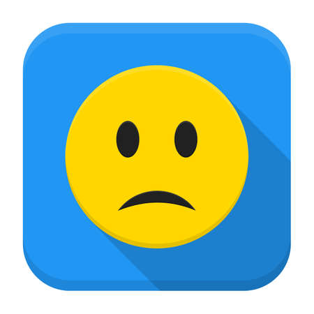 Flat style vector squared app icon. Sad yellow smile app icon with long shadow Vector