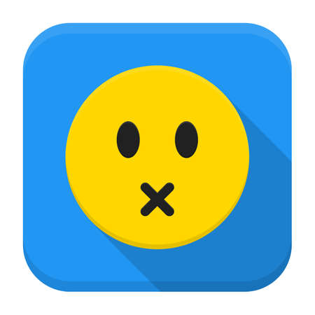 Flat style vector squared app icon. Silent yellow smile app icon with long shadow Illustration
