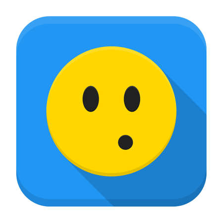Flat style vector squared app icon. Surprised yellow smile app icon with long shadow