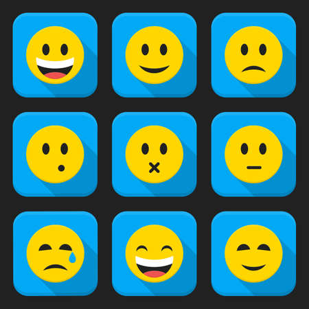 Flat style vector illustrations with long shadows; Yellow smiling faces squared app icon set