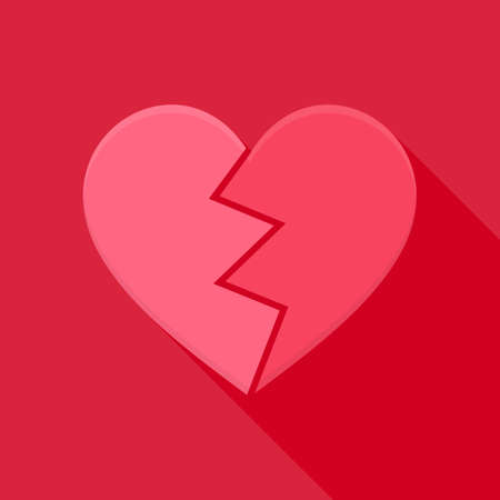 heart pain: Broken heart. Flat stylized object with long shadow
