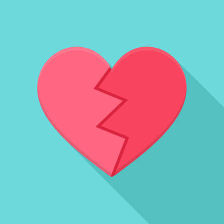 Crushed heart. Flat stylized object with long shadow Vettoriali