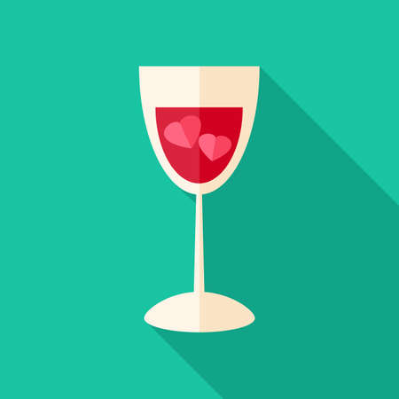 elixir: Glass with two hearts. Flat stylized object with long shadow
