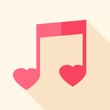 valentine musical note: Heart shaped sheet music. Flat stylized object with long shadow Illustration