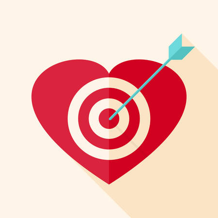 Heart target with arrow. Flat stylized object with long shadow