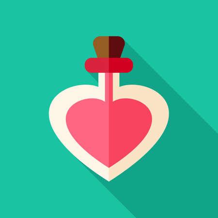 poison bottle: Amor botella del veneno con forma de coraz�n. Objeto estilizado plana con una larga sombra Vectores