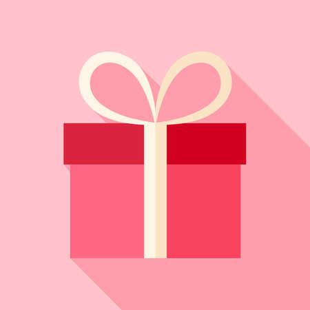 present box: Pink present box. Flat stylized object with long shadow