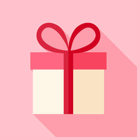 present box: Present box with bow. Flat stylized object with long shadow