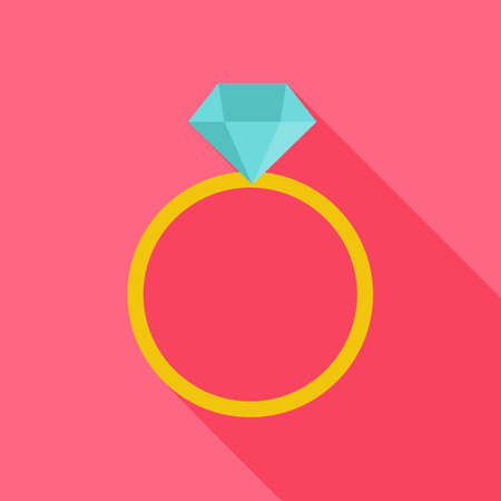 marriage: Ring with big diamond. Flat stylized object with long shadow