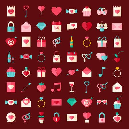 valentine day: Valentine day flat style icons. Flat stylized object set