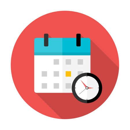 カレンダーと時計の時間の円形のアイコン。長い影とフラットの様式化された円形のアイコン