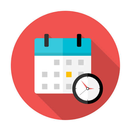 event management: Calendar and clock Time circle icon. Flat stylized circle icon with long shadow