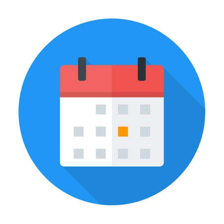 Calendar flat circle icon. Flat stylized circle icon with long shadow