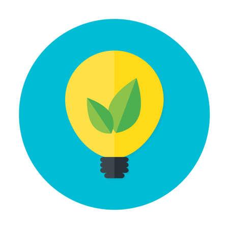 meaningful: Eco idea flat circle icon. Flat stylized circle icon